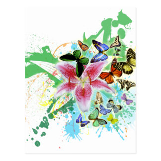 beautifull color spalsh lilly and butterflies post cards