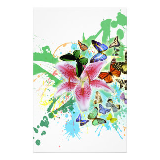 beautifull color spalsh lilly and butterflies personalized stationery