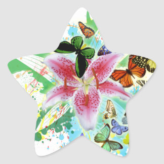 beautifull color spalsh lilly and butterflies star sticker