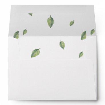 Beautifully botanical greenery leaves liner envelope