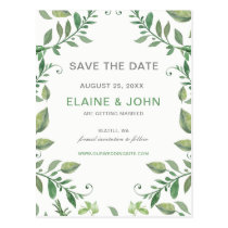 Beautifully botanical greenery Save the Date Postcard