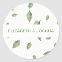 Beautifully botanical greenery wedding classic round sticker