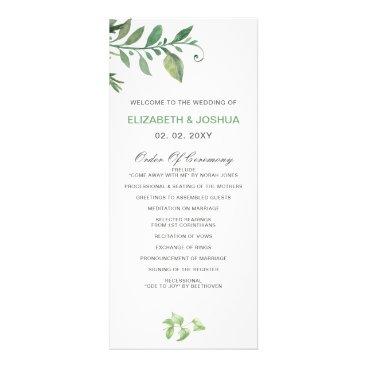 Beautifully botanical greenery wedding Programs