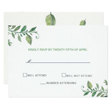 Beautifully botanical greenery wedding rsvp cards