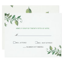 Beautifully botanical greenery wedding rsvp cards