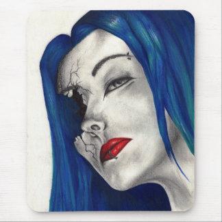 Beautifully Broken Fantasy Goth Girl Blue Hair Art Mouse Pad