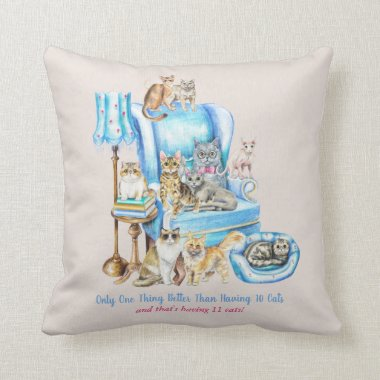 Beautifully Illustrated Crazy Baout Cats Cat Mom Throw Pillow