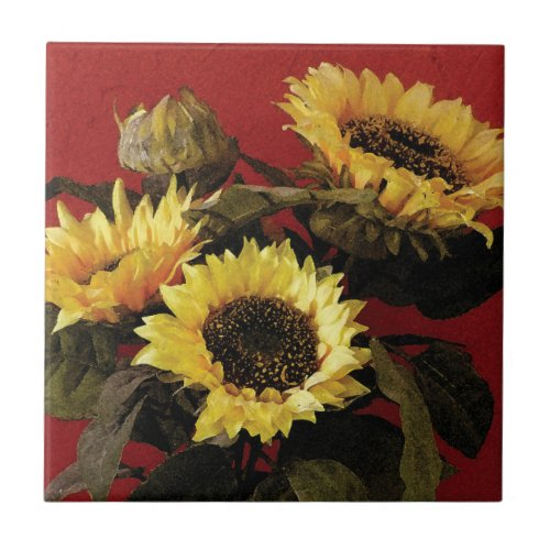 Beautifully painted sunflower ceramic tile