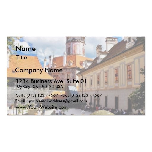 Beautifully Painted Tower In Cesky Krumlov Town Double-Sided Standard Business Cards (Pack Of 100)
