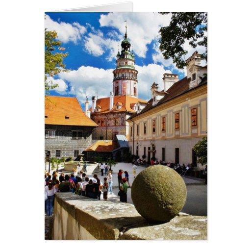 Beautifully Painted Tower In Cesky Krumlov Town Greeting Card