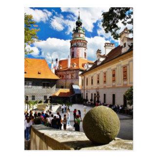 Beautifully Painted Tower In Cesky Krumlov Town Postcard