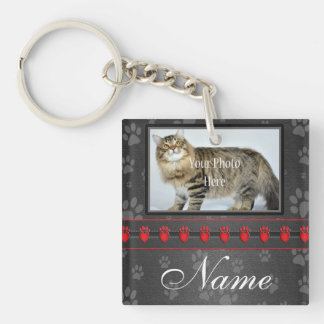 Beautifully Personalized Dog or Cat Memorial Double-Sided Square Acrylic Keychain