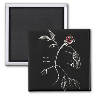 Beauty and Beast Rose 2 Inch Square Magnet