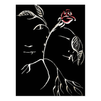 Beauty and Beast Rose Postcard