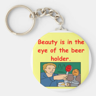 beauty and beer basic round button keychain