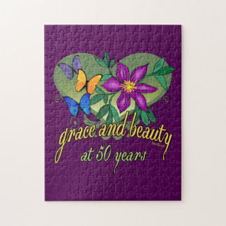 Beauty and Grace 50th Birthday Jigsaw Puzzle