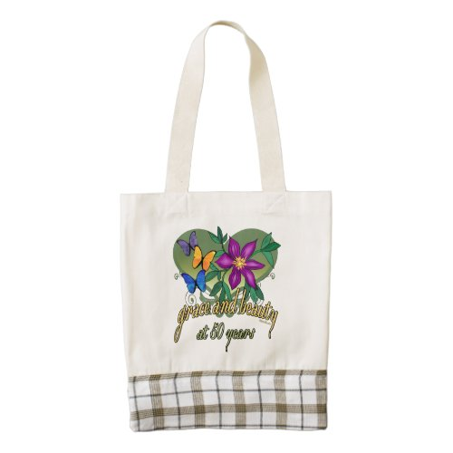Beauty and Grace 50th Birthday Zazzle HEART Tote Bag