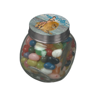 Beauty and Lion Glass Candy Jar