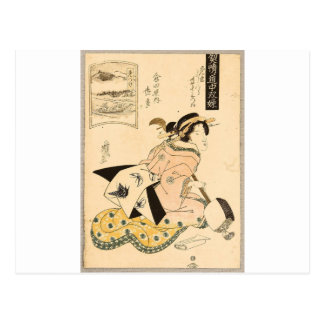 Beauty and Shamisen by Keisai Eisen Postcard
