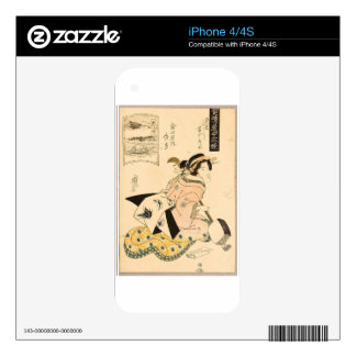 Beauty and Shamisen by Keisai Eisen Decal For The iPhone 4