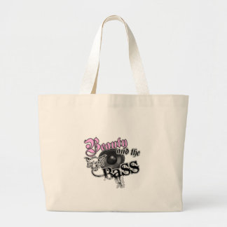 Beauty and the Bass girls EDM bass music logo Tote Bags