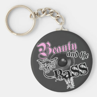 Beauty and the Bass girls EDM bass music logo Keychain