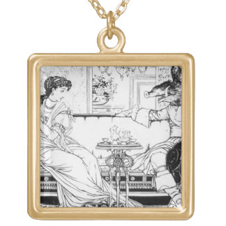 Beauty and the Beast, 1874 (litho) (b/w photo) Gold Plated Necklace