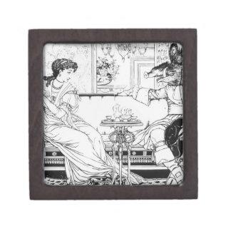 Beauty and the Beast, 1874 (litho) (b/w photo) Premium Trinket Boxes