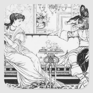 Beauty and the Beast, 1874 (litho) (b/w photo) Square Sticker