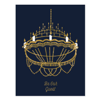 Beauty and the Beast | Chandelier - Be Our Guest Postcard
