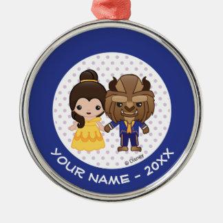 Beauty and the Beast Emoji Metal Ornament