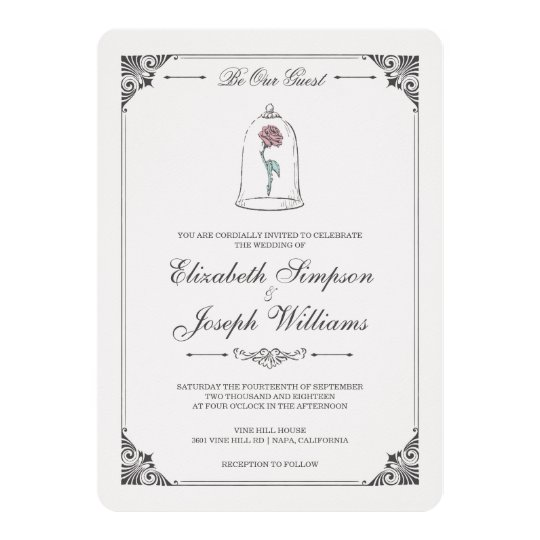 Fairy invitations announcements zazzle beauty and the beast enchanted rose wedding card stopboris Images