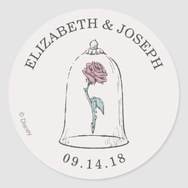 Disney Themed Beauty and the Beast | Enchanted Rose Wedding Classic Round Sticker