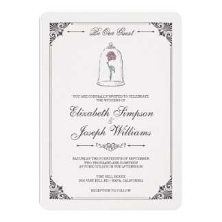Wedding invitations wedding invitation cards zazzle disney wedding collection beauty the beast enchanted rose wedding card stopboris Images