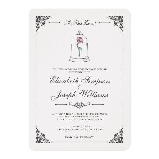 Zazzle Wedding Invitations.Beauty And The Beast Enchanted Rose Wedding Invitation