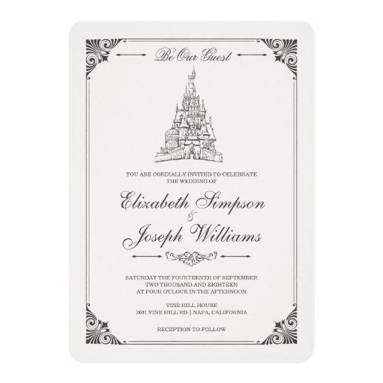 Beauty And The Beast Fairy Tale Castle Wedding Invitation