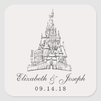 Beauty and the Beast | Fairy Tale Castle Wedding Square Sticker