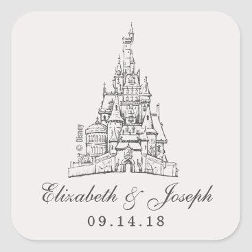 Disney Themed Beauty and the Beast | Fairy Tale Castle Wedding Square Sticker
