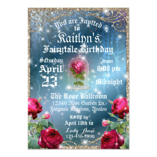 Beauty and the Beast Red Rose Enchanted Birthday Card