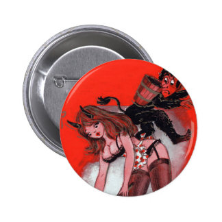 Beauty and the Krampus Vintage Xmas Christmas Pinback Button