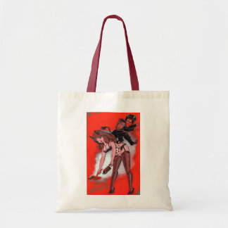 Beauty and the Krampus Vintage Xmas Christmas Tote Bag