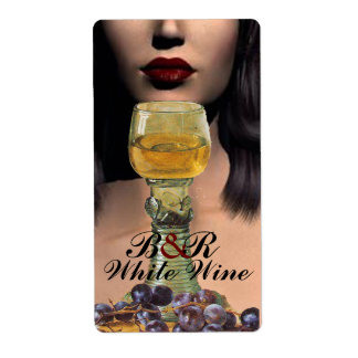 BEAUTY AND WHITE WINE GLASS Wine Tasting Party Label