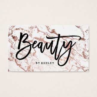 Beauty artist typography rose gold white marble business card