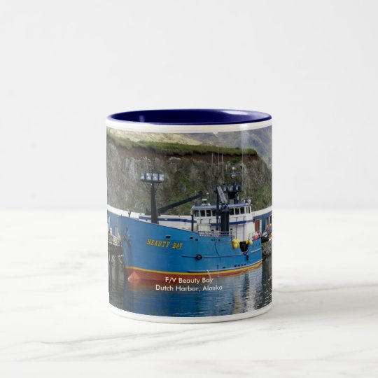 Beauty Bay, Crab Boat in Dutch Harbor, Alaska Two-Tone Coffee Mug