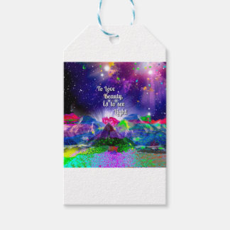 Beauty brings up the light. gift tags