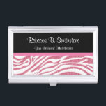"""Beauty Business Card Holder Zebra<br><div class=""""desc"""">Beauty business card holder for women with beautiful chic pink and white glitter style zebra stripes pattern printed on the cover with monogram space you can personalize and make your own by adding your name, company name, or initials in this fashionable design for any business related to hair fashion, beauty,...</div>"""