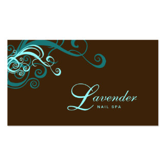 Beauty Business Card Modern Swirl Nail Salon Blue
