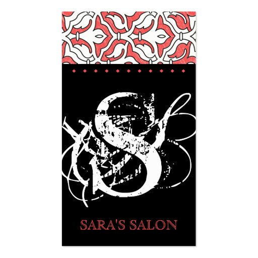 Beauty Business Card Retro Damask Coral red