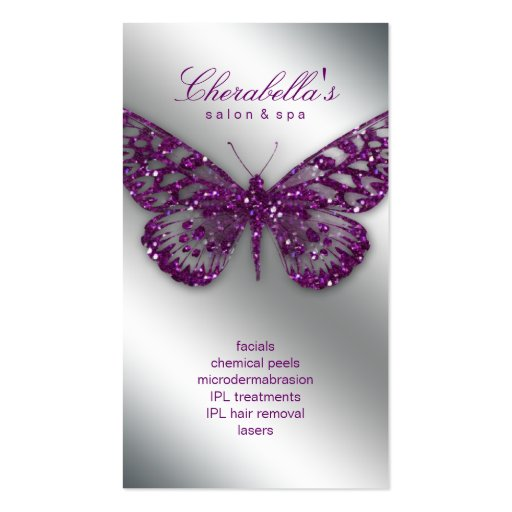 Beauty Business Card Salon Butterfly Purple Silver