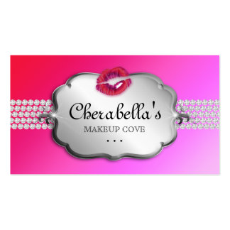Beauty Business Card Silver Pink Red Lips